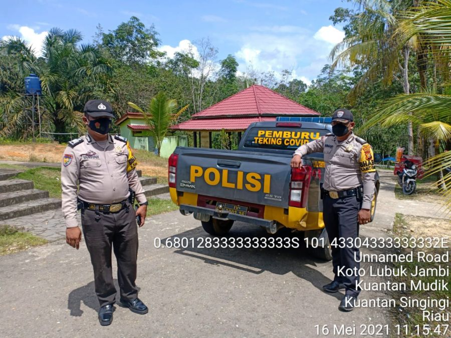 Cegah Penyebaran Covid-19 di Lokasi Wisata, Jajaran Polres Kuansing Laksanakan Himbauan Prokes 5 M dan Pembatasan Pengunjung