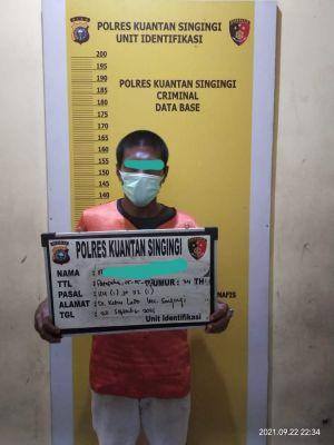 Sat Resnarkoba Polres Kuansing Bekuk Satu Pelaku tindak Pidana Narkotika Jenis Shabu di Desa Kebun Lado